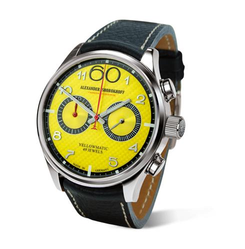gelbe automatik chronograph deutsche luxusuhr alexander shorokhoff uhren